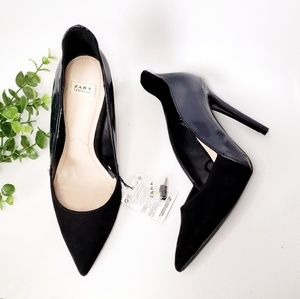 Zara Navy Black Pointed Toe Stiletto Heels 38/7